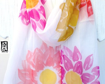 Hand painted Silk Scarf, Silk Floral Scarf Red, Pink and Yellow Spring Garden Party. Silk Chiffon Scarf. 11x59 in.