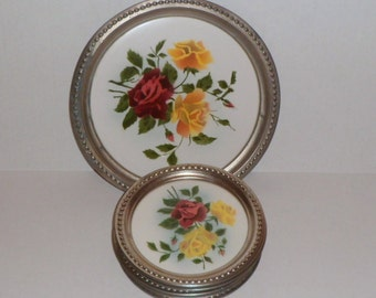 Luncheon Tray Plates Porcelain Metal Rim 6 Piece Luncheon Set Red Yellow Roses Vintage 1930s