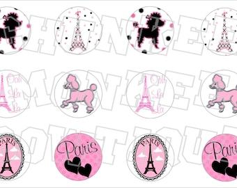 Paris Poodle bottlecap image sheet
