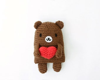 Crocheted Amigurumi Brown Teddy Bear with Red Amigurumi Heart Brooch, Softie Plush Bear with Red Heart Pin