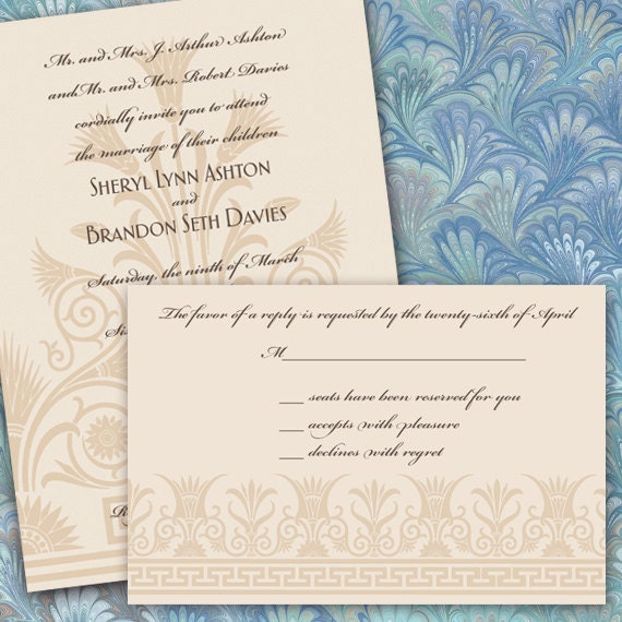 wedding invitations, cream art deco wedding invitations, wedding rsvp, wedding rsvp wording, ivory wedding invitations package, IN274