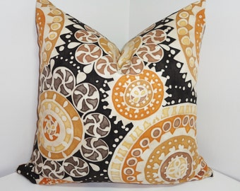 Richloom Black & Tan Medallion Print Pillow Cover Decorative Pillows Size 18x18