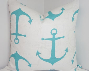 INVENTORY REDUCTION Ocean Blue & White Anchor Pillow Cover Blue Anchor Pillow Cover Size 20x20