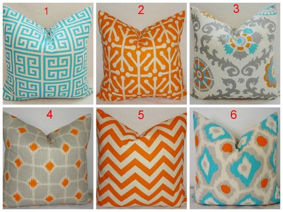 Items similar to Turquoise Blue Grey Orange Suzani Pillow Cover Coordinating Decorative Throw ...