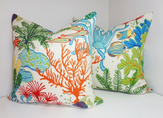 Set of 2 OUTDOOR Ocean Fish Coral Outdoor Pillow Cushion Covers Porch Pillow SET Pool Pillow 18x18