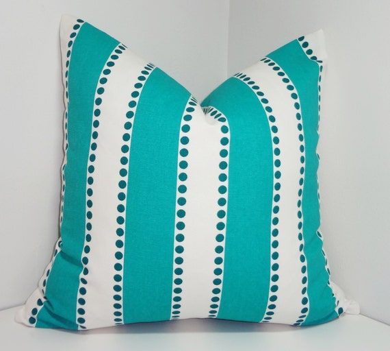 One Turquoise & White Stripe Dot Pillow Cover Decorative Throw Pillow Cover Choose Size