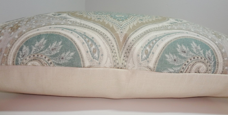 Kravet Latika Seafoam Linen Ikat Pillow Cover Green Tan