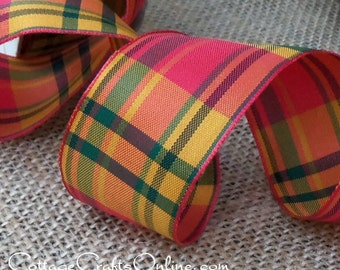 "Wired Ribbon, 1 1/2"", Orange Green Gold Plaid - FIFTEEN YARD ROLL - Offray ""Cavalier"" Fall, Autumn, Thanksgiving Craft Wire Edged Ribbon"