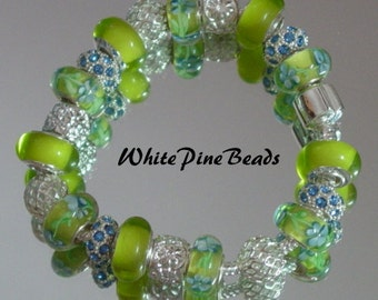 Blue and Green European  Charm Bracelet Green and Blue Handmade with Murano Glass Lampwork Beads by WhitePineBeads
