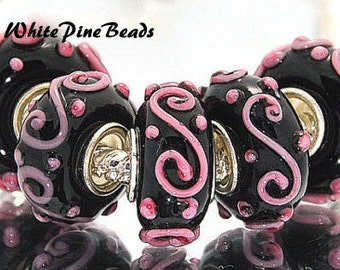 """Murano Lampwork Glass Bead Pink and Black   Black with Pink """"S""""  Swirl For European Bracelets White Pine Beads"""