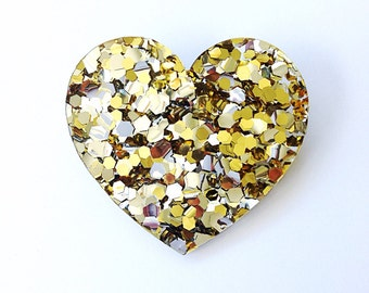 Lush Gold Heart Brooch