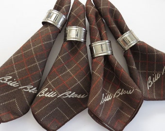 Brown Plaid Napkins by Bill Blass - Set of 9 - Fall Winter Table Linens - Brown Red White Checks Squares Stripes - Autumn Harvest Decor