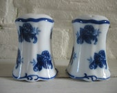 Vintage Blue and White Floral Salt and Pepper Shakers