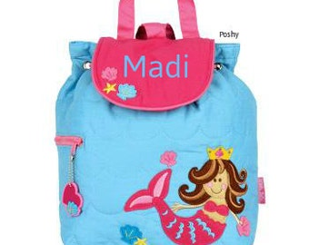 Personalized Backpack or Baby Diaper Bag Stephen Joseph Quilted Mermaid