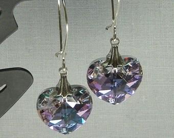 Faceted Crystal Heart Drop Earrings