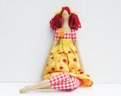 Fabric doll bright yellow dress red hair cute cloth doll art doll stuffed doll rag doll  birthday gift for girls