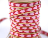 Woven Ribbon red with white hearts, 1 cm width, 2 Meters (2.18 yard)