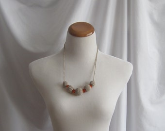Crochet Covered Bead Necklace - Linen Taupe and Orange