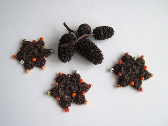 3 Crochet Beaded Flowers Mini - Brown with Shaded Orange Beads - Set of 3