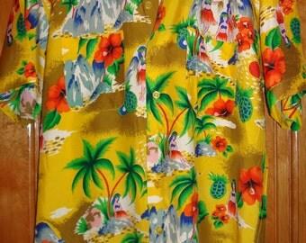 Mens Vintage 60s Hawaiian Holiday Rayon Hula Girl Aloha Shirt - M - The Hana Shirt Co