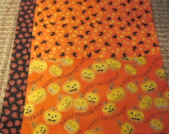 """14"""" x 14"""" PILLOW COVER- Cotton Halloween Night Costumed BOO Black Cats Prowl"""