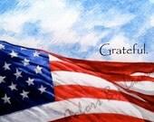 American Flag Grateful Patriotic Greeting Card (PAT Flag G)