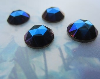 11mm Iris Blue Rauten Roses 11mm Cabs 4Pcs.