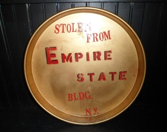 1930's Quirky Stolen Empire St Bldg. Metal Tray , College Prank