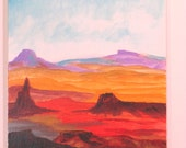 "Small acrylic painting ""desert and mountains"""