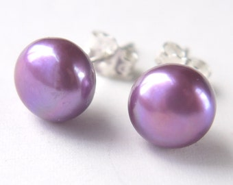 purple pink 8-9mm freshwater pearl sterling silver stud earrings post earrings
