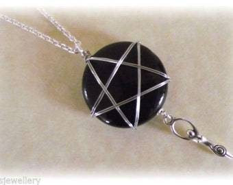 Pentagram Pendant Goddess Pentacle Pagan Wiccan Witch Wire Wrapped Onyx