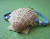 Sky Blue Leather and Scallop Seashell Bracelet