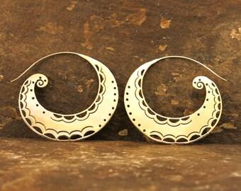 Spiral Moon (Large) Brass Earrings