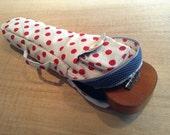 Soprano ukulele case - Sweet Pop -  White and Red Polka dot Ukulele Case (Ready to ship)