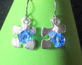 Silver puzzle piece with swarovski crystal earrings