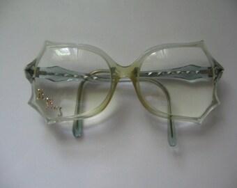 VINTAGE HUGE EYEGLASS Frames, 1980's Clear