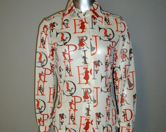 Vintage 1970s Alphabet Polyester Shirt - Small