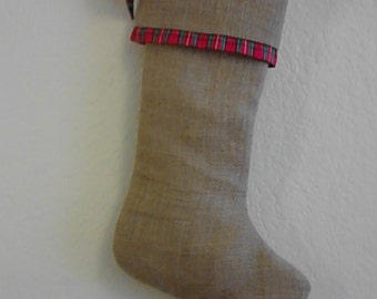 Burlap Christmas Stockings, Red Plaid Straight Band - Fully Lined