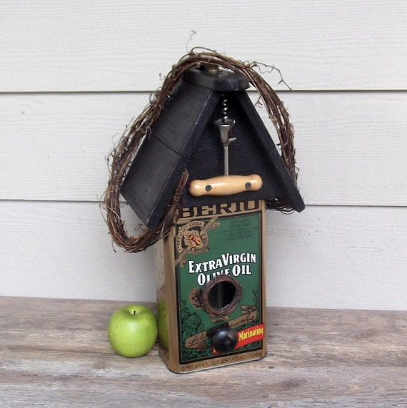 Olive Oil Can Birdhouse Tin Can Birdhouse Repurposed Can