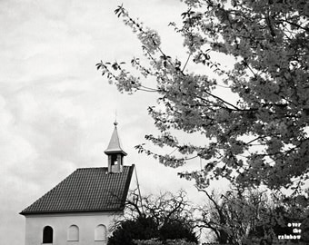 Prague photography, St Claires winery, Tree photography, Spring landscape ,Church photography,Prague print,Spring home décor,Black and white