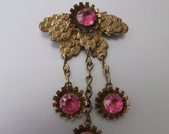 Art Deco Pink Floral Dangle Brooch