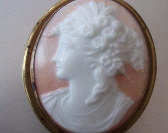 Vintage relief Porcelain Cameo Brooch