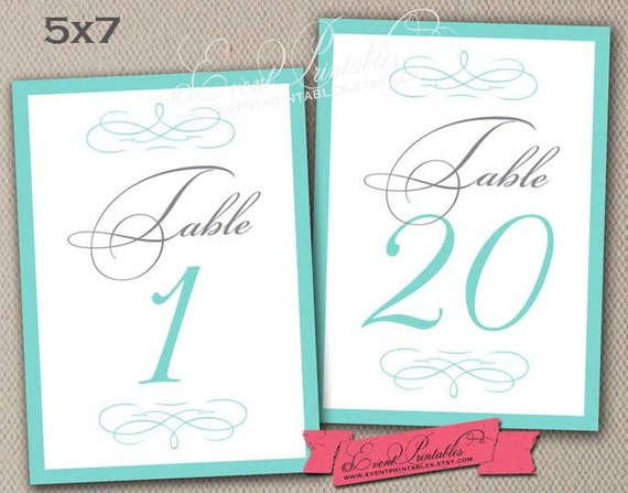 tiffany blue wedding table numbers