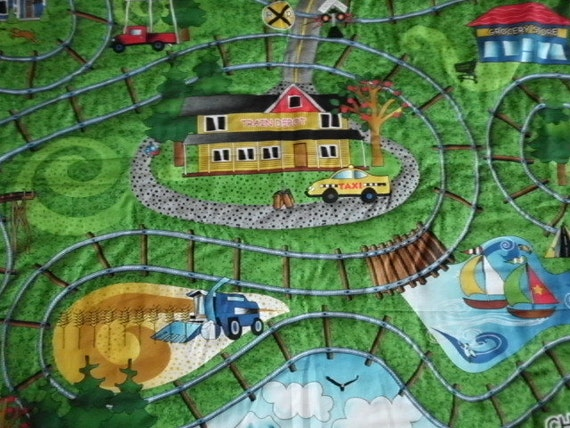 Ride the Rails crib playmat floor quilt ready to ship last piece this fabric