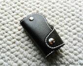 100% hand stitched handmade super dark brown cowhide leather key purse/ holder/ case