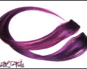 Purple Human Hair Clip In Extensions