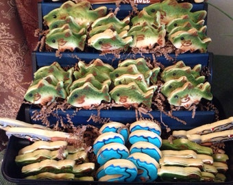 Gone Fishing Bass Cookies, Birthday, Fathers Day, Retirement Gift