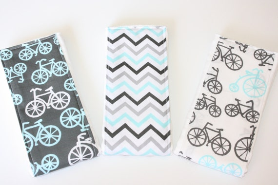 Baby Burp Cloths - Set of 3 - Michael Miller It's a Boy Thing Bicycles in Charcoal and Blue