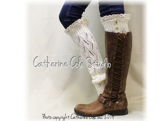 SIMPLY ELEGANT in Cream Leg warmers lace knit leg warmers women handmade legwarmers lace buttons lace boot socks Catherine Cole Studio LW21