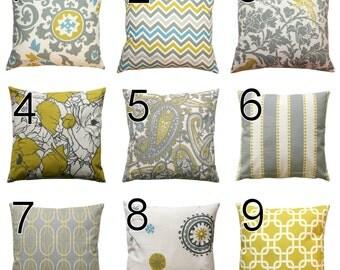 Citrine Throw Pillows- Premier Prints Summerland Euro Sham Pillow Cover or You Choose Size- Hidden Zipper Closure- Home and Living